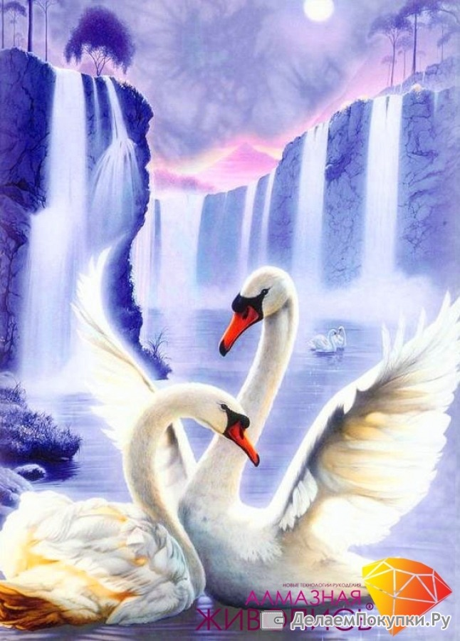 Алмазная вышивка лебединая