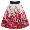 'Praia' White Poppy Print Swing Skirt