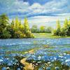 Картины-раскраски по номерам 40*50 GX 3178 Голубое поле