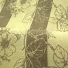 Льняная ткань для штор с серым узором цветов