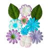 Набор цветочков с листочками НЕЖНЫЕ, 10шт - 25-45 мм