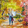 """Набор для живописи по номерам на ч/б холсте """"Осенний парк, скамейка, двое"""". По картине Елены Самарской"""