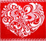 Махровая салфетка Сердечко ажурное (красн.) 30x30 см