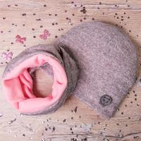 Набор: Шапка лопатой+снуд, нашивка Блестящая Кошечка, Меланж, серый с розовым