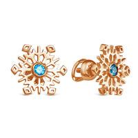Золотые серьги с голубыми фианитами - 953