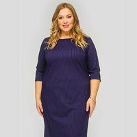 Платье базовое из темно-синего джерси в полоску, размер 48-78