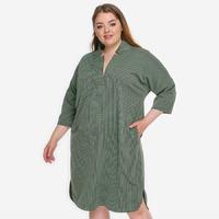 """Платье - кимоно из джерси в мелкий """"гленчек"""", оливковое, размер 52-70"""