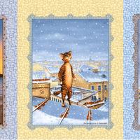 Набор полотенец рогожка Питерские коты
