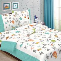 Детское постельное белье из бязи 1,5сп с 1 наволочкой 70х70 - Алфавит(БИРЮЗА)