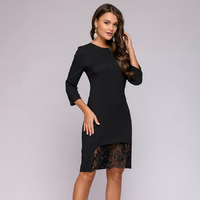 Платье черное длины мини с кружевной отделкой
