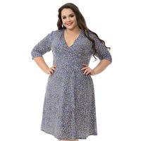 """Платье с запАхом по лифу из трикотажа, принт """"французский серый"""", размер 52-74"""