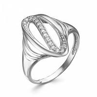 Кольцо с фианитом родированное серебро 925* Артикул:10-0790