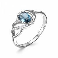 "Кольцо с фианитом ""лондон топаз""родированное серебро 925 Артикул:10-0778 лд"