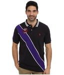 U.S. POLO ASSN. Diagonal Stripes Short Sleeve Pique Polo