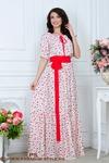 Платье крестьянка белый мелкие цветочки красные РАСПРОДАЖА