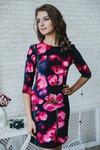 Платье футляр с розовыми маками