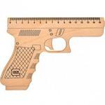"""Линейка-пистолет """"Glock"""" 15см, деревянная"""