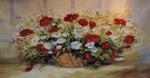 "Гобелен ""Корзина с цветами"" в рамке 60х120 см"