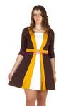 Платье БР 3х цветное Пояс с пряжкой Горчичный