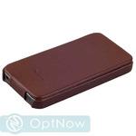Чехол Fashion Case для iPhone SE/ 5S/ 5 кожаный с откидным верхом коричневый