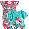 Hello Kitty Baby Girls' 2 Pack Bodysuit with Allover Animal Print