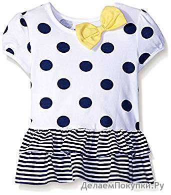 Gerber Graduates Baby Girls' Short Sleeve Drop Waist Top with Hemmed Double Ruffle