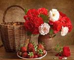 Картина-раскраска по номерам 40*50 GX 3591 Букет цветов и клубника