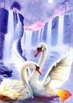 Лебединая пара (АЖ-197) - картина стразами