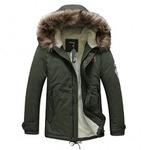 Zicac New Men's Thicken Fuax Fur Collar Cotton Coat Overcoat