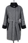 01-4151 Пальто женское демисезонное (пояс) Твид Серо-черный