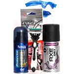 Набор 3 предмета Schick Protector гель д/бр 75 мл + Axe дезодорант 150 мл + Dorco бритва с 6 лезвиями подарочный в ПВХ косметичке