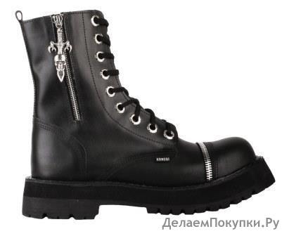 """Ботинки высокие Ranger """"Black zipper skull"""" 9 колец, череп"""