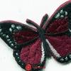 """LM-80311 Термоаппликация (нашивка на одежду) """"Бабочка"""" черная с бордовым"""