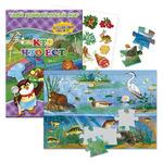 """Комплект """"В озере"""": Пазл на листовой подложке + книжка с многоразовыми наклейками"""