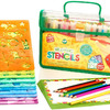 Creativ' Craft Large Drawing Stencils Art Set for Kids, Loved By Parents Golden Award 2016, More than 260 Shapes, Awesome Creativity Kit & Travel Activity, Educational for Girl and Boy, Ideal Kid Gift