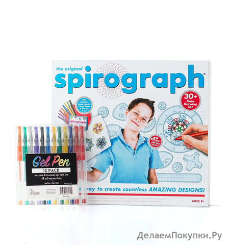 The Original Spirograph Set with 12 Colorful Gel Pens