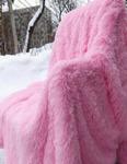 Плед травка длинный ворс ярко-розовый