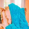 Плед травка (длинный ворс) цвет небесно-голубой