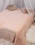 Плед травка длинный ворс цвет розовый беж