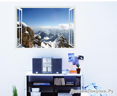 Виниловая наклейка Окно с видом на горы 3D