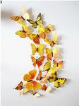 Набор декоративных 3D бабочек 12 шт (жёлтые)