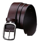 "Mens Classic Brown Leather Belt 1.49"" Wide For Jean and Dress"