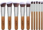 BS-MALL(TM) Premium Synthetic Kabuki Makeup Brush Set Cosmetics Foundation Blending Blush Eyeliner Face Powder Brush Makeup Brush Kit (Bamboo Silver) b