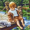 """854 Канва с рисунком """"С другом на рыбалке"""" (37*49 см) (Матренин Посад)"""