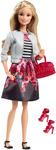 Barbie Style Doll, White Jacket & Black Floral Print Skirt