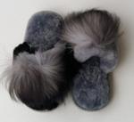 Тапочки со вставкой с натуральным бубоном из песца (цвет в ассортименте) р-р 36-41
