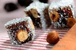 Рахат-лукум шоколадный с орех (фундук) в кокосовой стружке