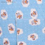 1540814 Пелёнка детская Овечки голубые 90х120 см, фланель, 180 г/м2