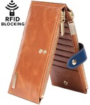 Borgasets RFID Blocking Women's Genuine Leather Zipper Wallet Card Case Purse