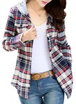 Asher Women Classic Long Sleeves Cotton Hoodie Button-up Plaid Shirts